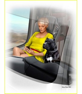 Truckers series. Joni (Lookout) Johnson & her dog Maxx-24045