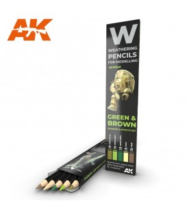 AK10040 Set 5 crayons weathering Vert et Marron