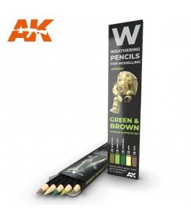 AK10040 Set 5 lapices weathering Verde y Marrón