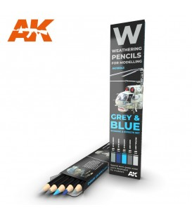 AK10043 Set 5 lapices weathering Gris y Azul