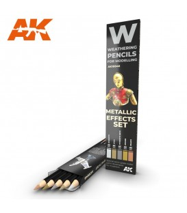 AK10046 5 Weathering Pencils set Metallic Effects