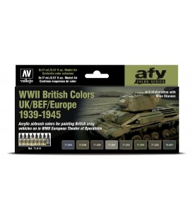 Set Vallejo Model Air 8 u. (17 ml.) WWII British Colors UK/BEF/Europe 1939-1945
