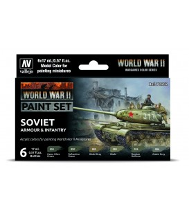 Set Vallejo Model Color 6 u. (17 ml.) WWII Soviet Armour & Infantry Wargames Color Series