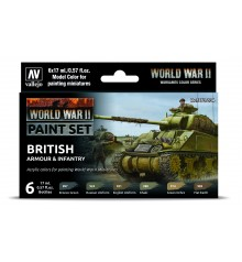 Set Vallejo Model Color 6 u. (17 ml.) WWII British Armour & Infantry Wargames Color Series