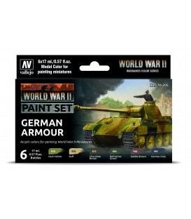 Set Vallejo Model Color 6 u. (17 ml.) WWII British Armour & Infantry Wargames Color Series