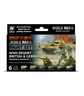 Set Vallejo Model Color 6 u. (17 ml.) WWII Desert British & German Armour & Infantry Wargames Color Series