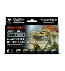 Set Vallejo Model Color 6 u. (17 ml.) WWII Desert British & German Armour & Infantry Wargames Color Series