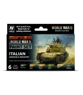 Set Vallejo Model Color 6 u. (17 ml.) WWII Italian Armour & Infantry Wargames Color Series
