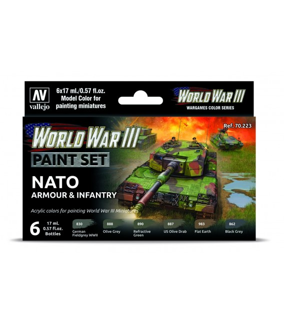 Set Vallejo Model Color 6 u. (17 ml.) WWIII NATO Armour & Infantry Wargames Color Series