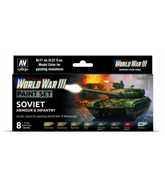 Set Vallejo Model Color 8 u. (17 ml.) WWIII Soviet Armour & Infantry Wargames Color Series