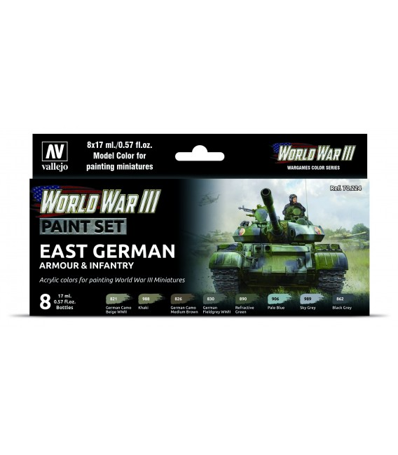 Set Vallejo Model Color 8 u. (17 ml.) WWIII British Armour & Infantry Wargames Color Series