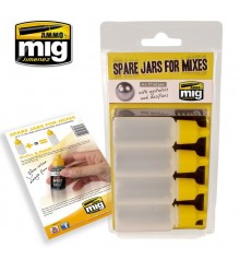 A.MIG-8004 4 spare jars 17 ml. set with agitator and dropper.