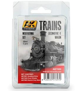 AK7000 Trains Locomotive and Wagon Weathering Set 3 u. 35 ml