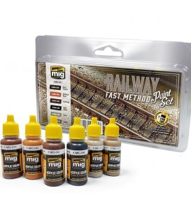 A.MIG-7471 Railway Fast Method Paint Set 6 u. 17 ml
