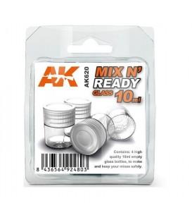 AK620 Set 4 bouteilles en Verre 10 ml avec couvercle pour melanges MIX N'READY