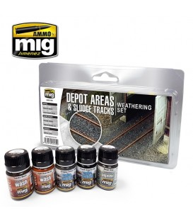A.MIG-7470 Depot Areas - Sludge Tracks Weatherin Set 5 u. 35 ml