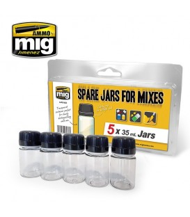 A.MIG-8033 Set 5 Spare Jars For Mixes 35 ml.