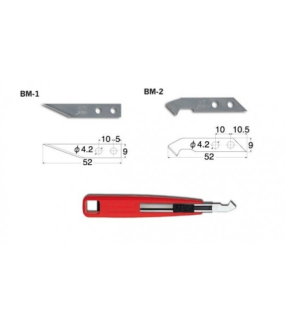 k) M-500P Multipurpose cutter with plastic cutting blade and precision blade.