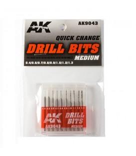 AK9043 10 Drill Bits Set Medium 0.4-1.3 mm