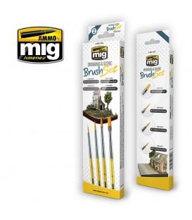 A.MIG-7601 Set 4 pinceles sinteticos para dioramas y terrenos