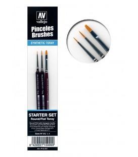 Set 3 pennelli sintetici per modellismo Vallejo