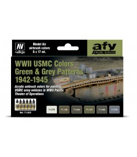 Set Vallejo Model Air 6 u. (17 ml.) WWII USMC Colors Green & Grey Patterns 1942-1945