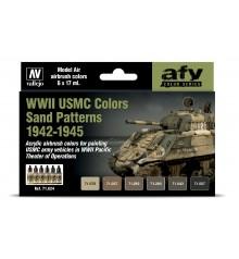 Set Vallejo Model Air 6 u. (17 ml.) WWII USMC Colors Sand Patterns 1942-1945