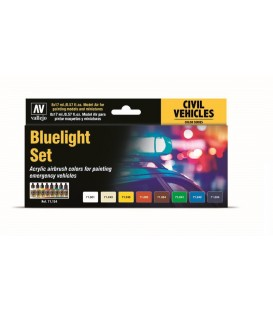 Set Vallejo Model Air 8 u. (17 ml.) Bluelight Set Vehiculos Emergencia.