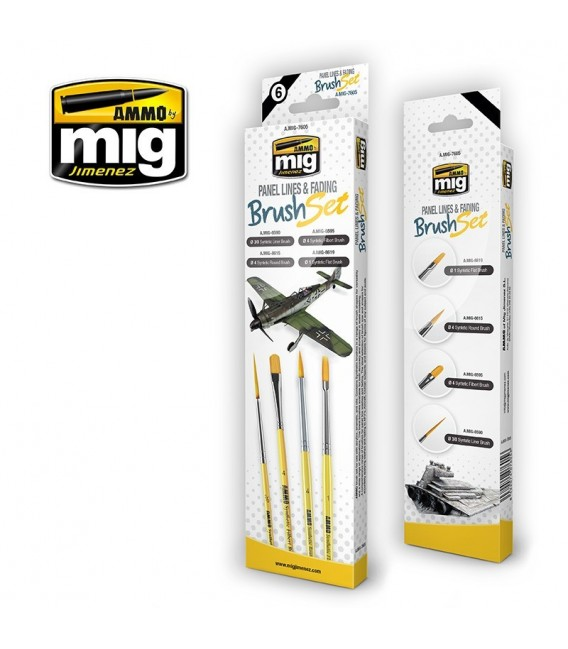 A.MIG-7605 Panel Lines and Fading Synthetic Brush Set