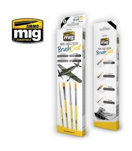 A.MIG-7605 Set 4 Pinzells Sintetics per Linies de Panell i Desgastos