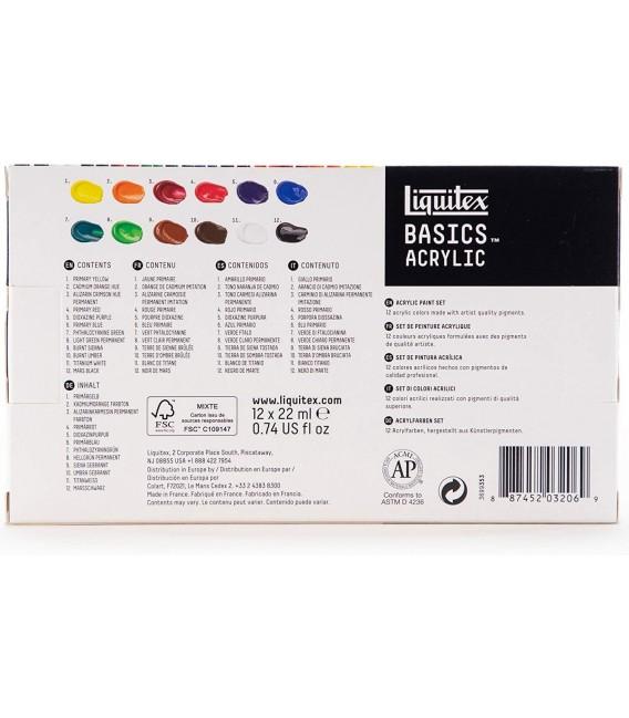 Set peinture acrylique Liquitex Basics 12 tubes