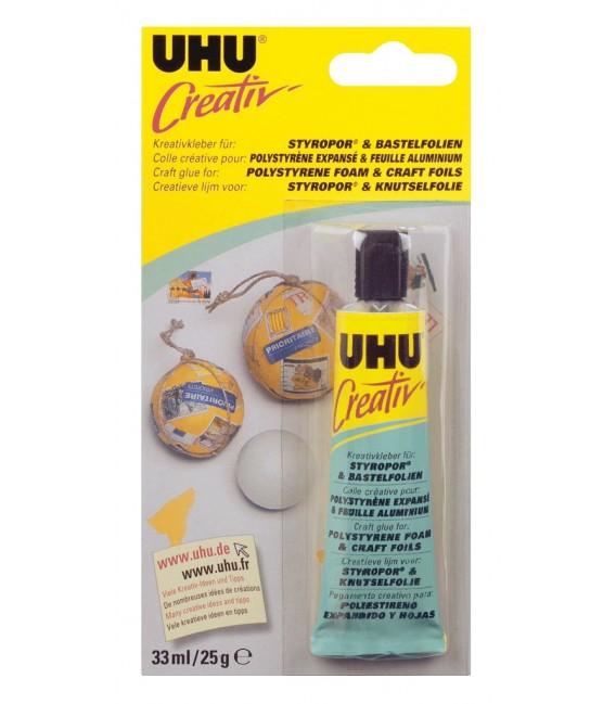 UHU Creativ Colle pour Polystyrene Expanse & Feuilles Aluminium 25 gr.