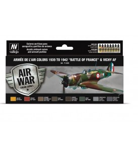 71626 Set Vallejo Model Air 8 u. (17 ml.) Armee de Air colors 1939 to 1942 Battle of France & Vichy AF