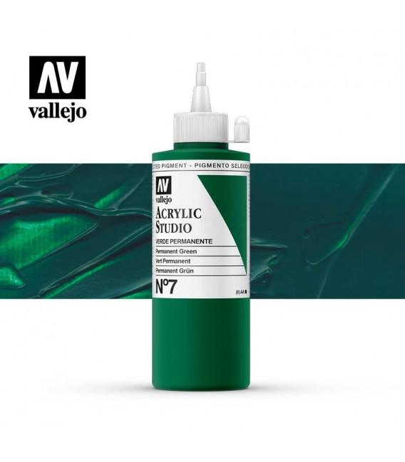 32) Acrylique Vallejo Studio 200 ml. 7 Vert Permanen