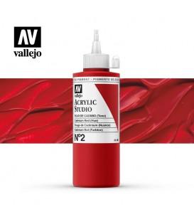 13) Acrilico Vallejo Studio 200 ml. 2 Rojo de Cadmio (Tono)