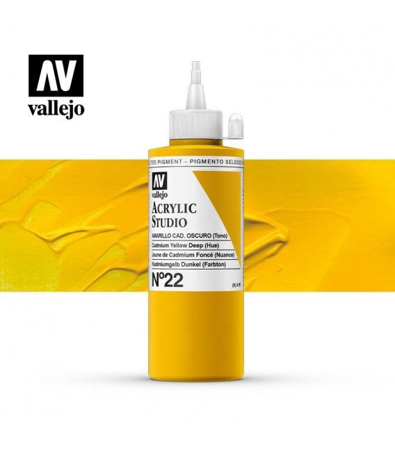 06) Acrylic Vallejo Studio 200 ml. 22 Cadmium Yellow Deep (H