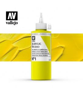 04) Acrilico Vallejo Studio 200 ml. 1 Cadmium Lemon Yellow (