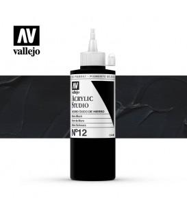 48) Acrilico Vallejo Studio 200 ml. 12 Negro Oxido de Hierro