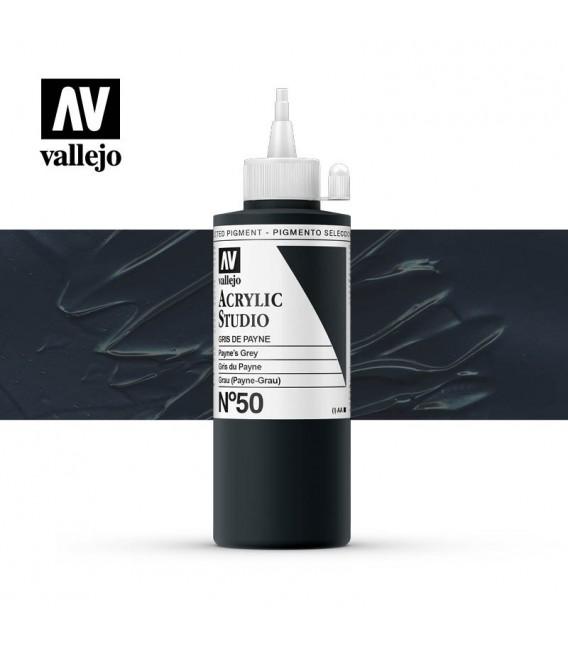 47) Acrylic Vallejo Studio 200 ml. 50 Payne's Grey