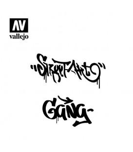 ST-LET004 Graffiti n.2 1/35 Vallejo Hobby Stencils 125 X 125 mm.