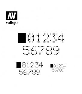 ST-SF004 Numeros digitais Vallejo Hobby Stencils 125 X 125 mm.