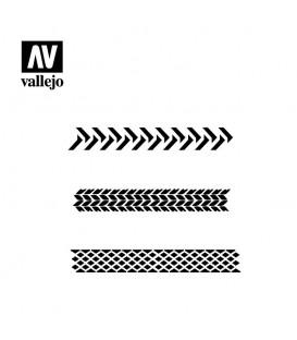 ST-TX002 Marche di pneumatici 1/35 Vallejo Hobby Stencils 125 X 125 mm.