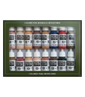 Set Vallejo Model Color 16 u. (17 ml.) Colors Pell y Cara
