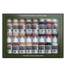 Set Vallejo Model Color 16 u. (17 ml.) Face & Skinstones