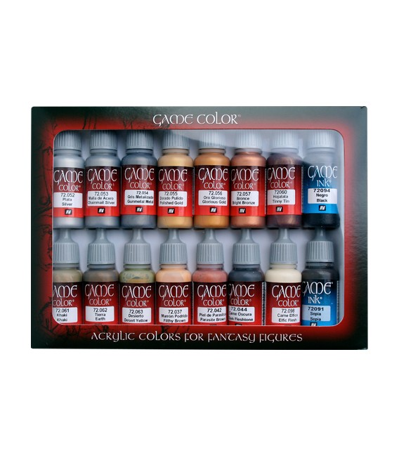 Set Vallejo Game Color 16 u. (17 ml.) Cuir i Metall.