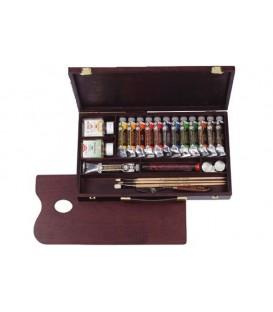 Caja pintura oleo Rembrandt Professional madera 13 tubos