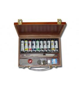 Caja pintura oleo Titan madera 10 tubos 40 ml