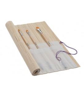 Portapennelli in bambu con tasche in tela 33 X 33 cm