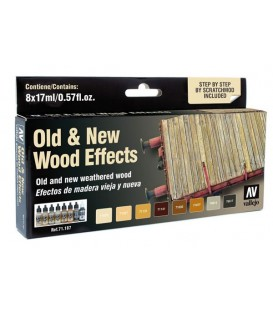 Set Vallejo Model Air 8 u. (17 ml.) Efeitos madeira velha e nova