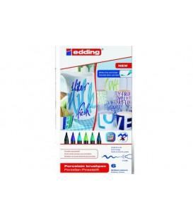 Set 6 marcadores Edding 4200 para porcelana - Tons Azuis